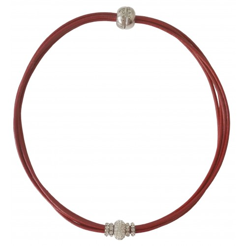 Choker in red leather and central white fine crystal