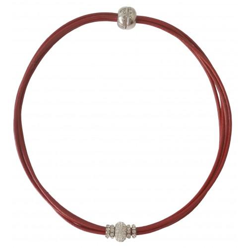 Gargantilla cuero rojo y central cristal blanco