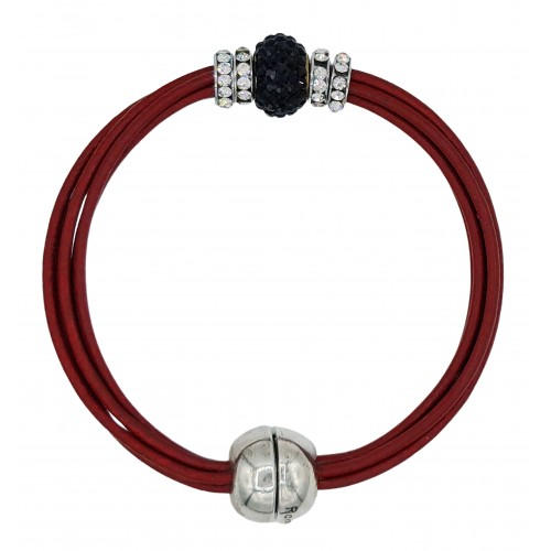 Bracelet in red leather and central black fine crystal