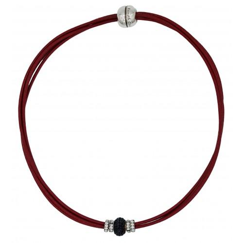 Gargantilla cuero rojo y central cristal negro