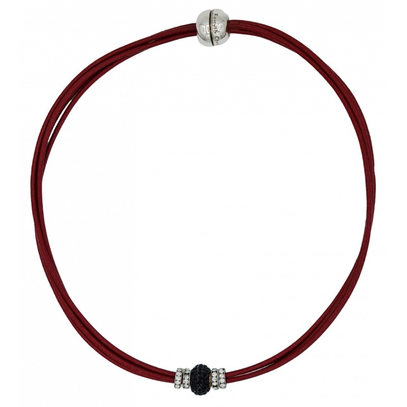 Choker in red leather and central black fine crystal