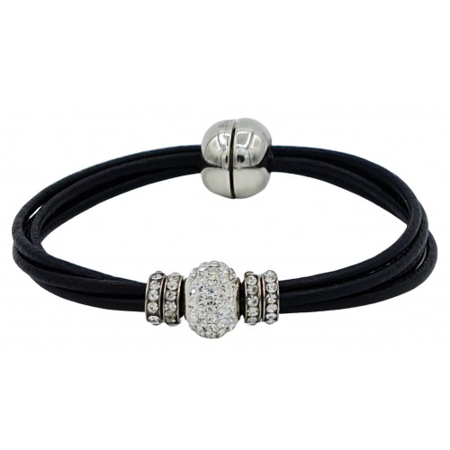 Bracelet in black leather and central white fine crystal