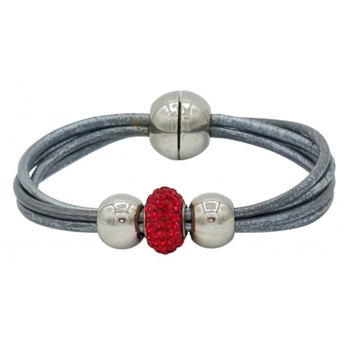 Bracelet in silver gray leather and central red fine crystal