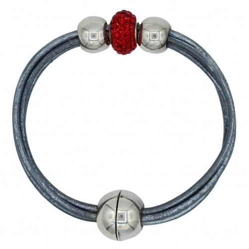 Pulsera central cristal rojo y cuero gris plata