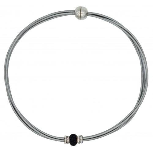 Gargantilla cuero gris metálico y central cristal negro