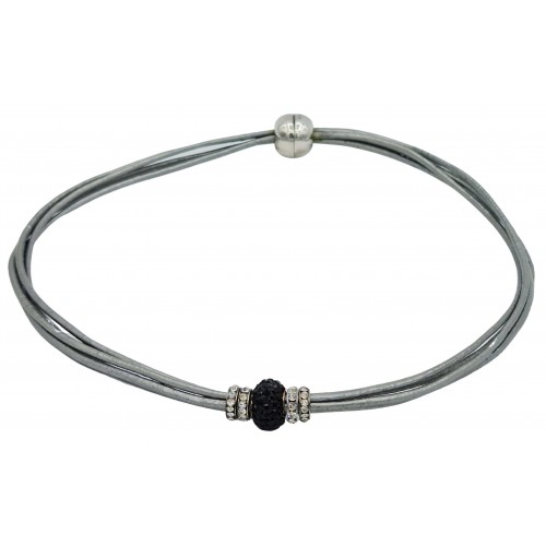Chocker in silver gray leather and central black fine crystal