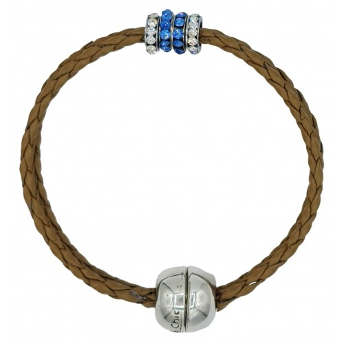Bracelet in imitation camel leather and central stras rondelles
