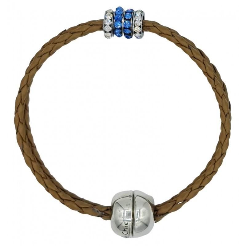 Bracelet in imitation camel leather and central stras rondelles