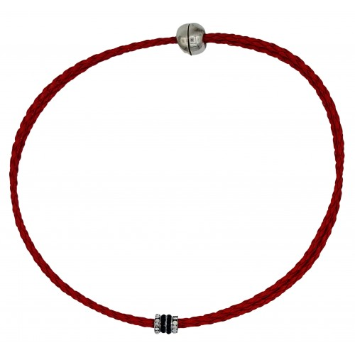 Chocker in imitation red leather and side rondelles in black and white