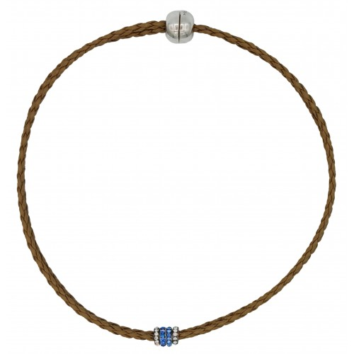 Chocker in imitation camel leather and side rondelles in light blue and white