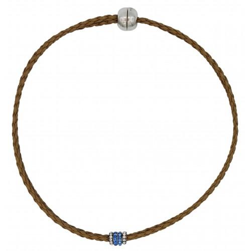 Gargantilla cuero sintético trenzado camel y rondelles de stras azul