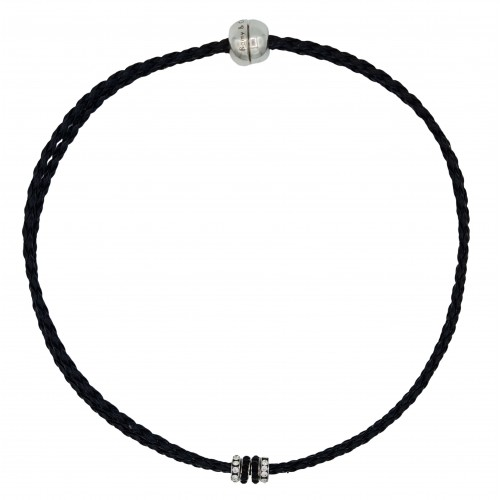 Chocker in imitation black leather and side rondelles in black and white