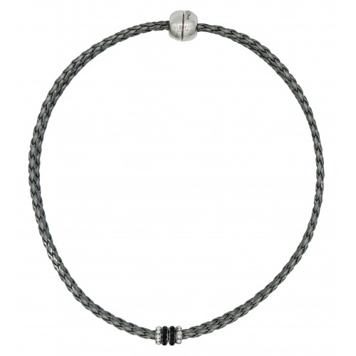 Chocker in imitation silver gray leather and side rondelles in black and white