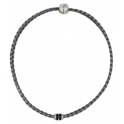 Gargantilla de cuero sintético gris metálico y rondelles de stras en negro