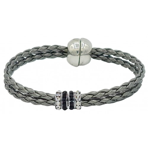 Bracelet in imitation silver gray leather and central stras rondelles