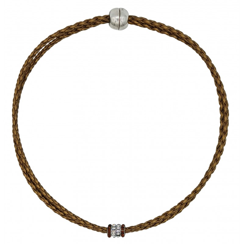 Chocker in imitation gold leather and side rondelles in brown and white
