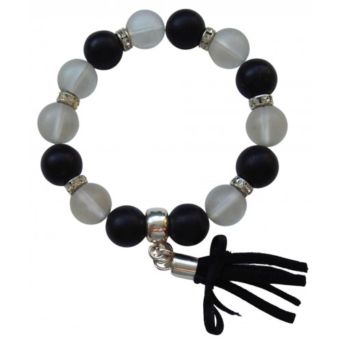 Bracelet in onyx matte and crystal rock stone and fringe removable charm