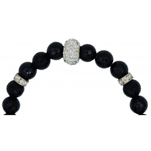 Bracelet in faceted black onyx with white fine crystal centerpiece