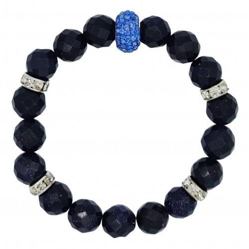 Bracelet in navy blue aventurine and central light blue crystal