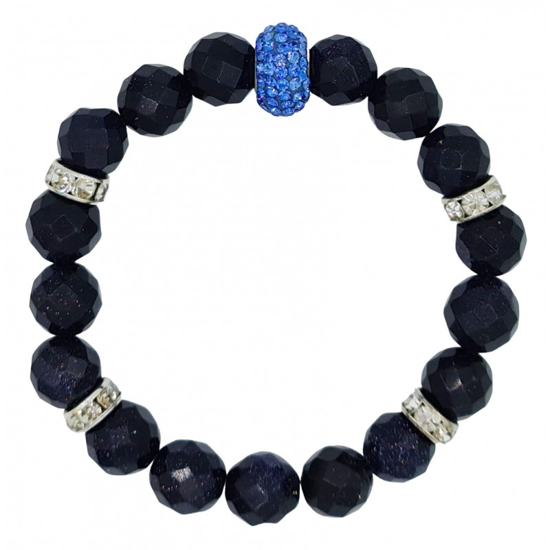 Bracelet in navy blue aventurine and central light blue crystal