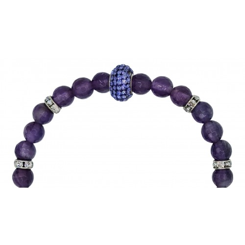 Bracelet in amethyst and central purple fine crystal