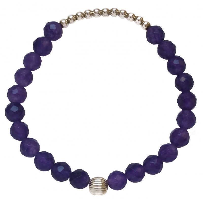 Bracelet in faceted purple agate and central tiny silver balls