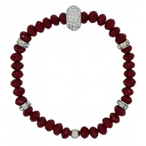 Bracelet in red crystal and white central fine crystal