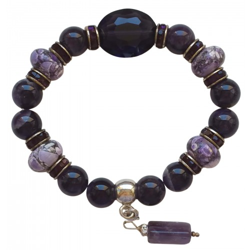 Bracelet in purple amethyst and lilac shell