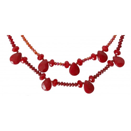 Necklace in red crystal double tier and hanging tears