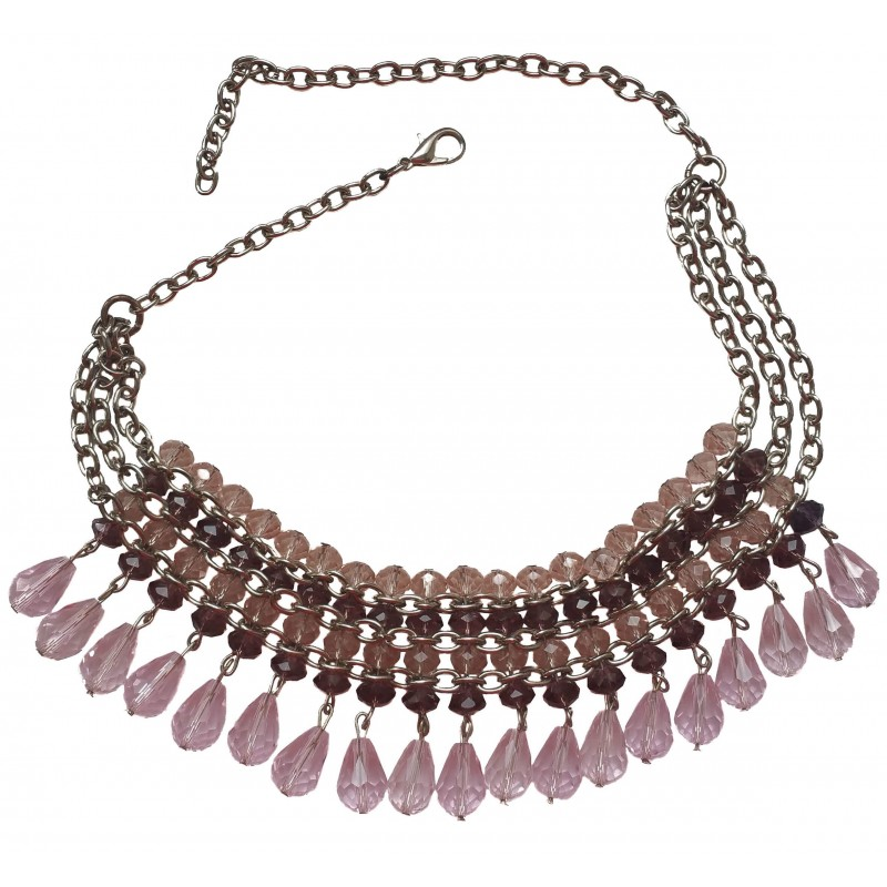Necklace choker in pink crystal with hanging tears and plated chain