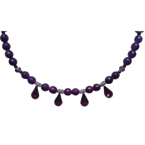 Necklace of amethysts and 4 hanging glass tears