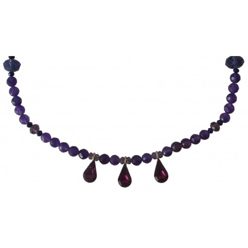 Necklace in purple agate and 3 hanging glass tears