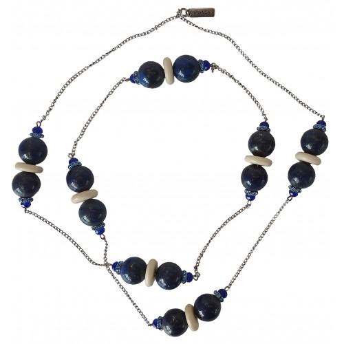 Collar de lapislázuli liso y cadenas de metal