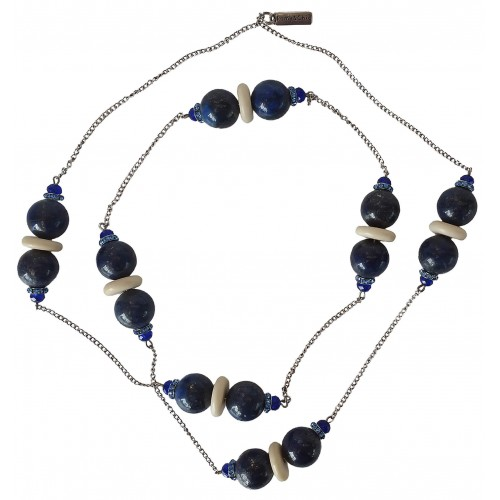Necklace in plain blue lapis lazuli  and metal chain