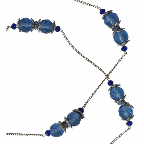 Necklace in faceted blue crystal and metal chains