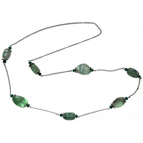 Collar de cadena unida por piedras naturales en verde