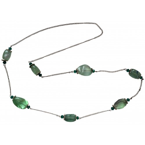 Natural green stone necklace and metal chains