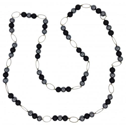 Collar largo de onix mate y hematite y arandelas oval de plata