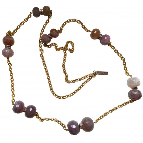 Necklace in pinkish agate and golden color chain