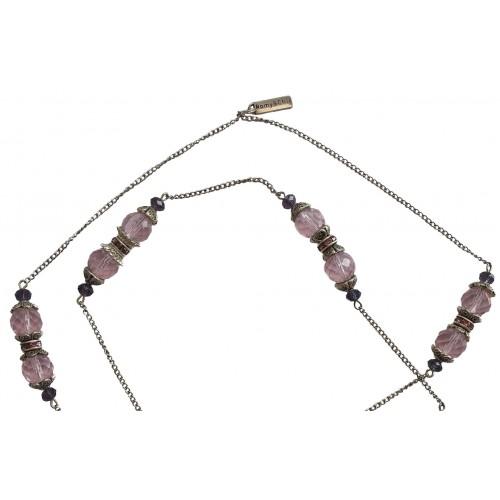 Collar de cristal rosa facetado y cadenas de metal