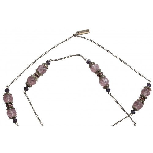 Necklace in faceted pink crystal and metal chains