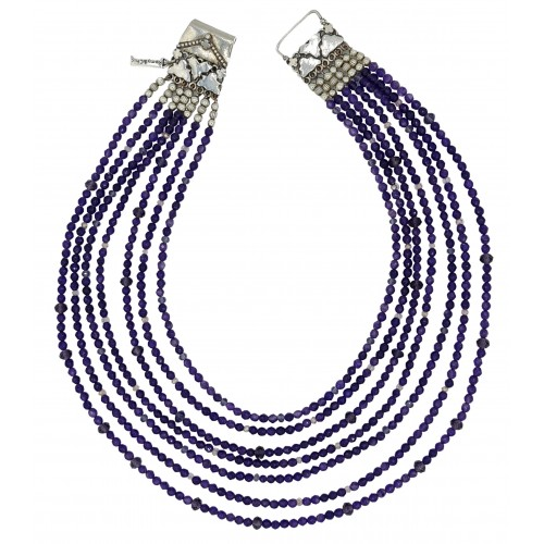 Natural 7 tier Stone necklace in purple agate 4mm
