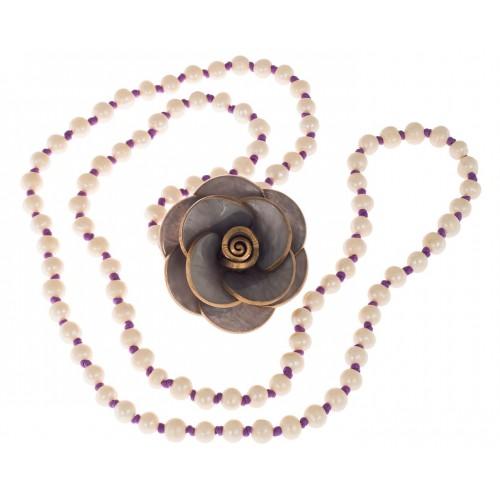 Collar perlas e hilo de seda morado