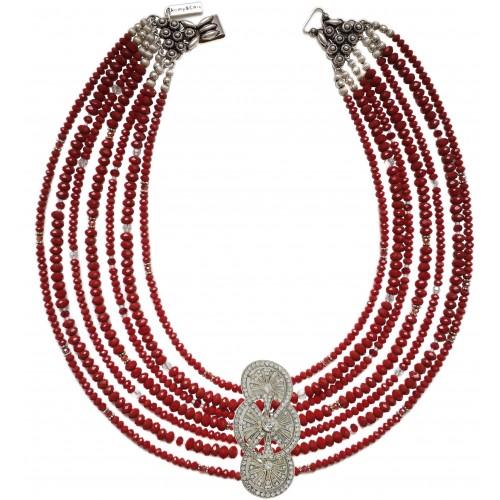Collar de cristal rojo de 7 vueltas y cierre labrado de plata