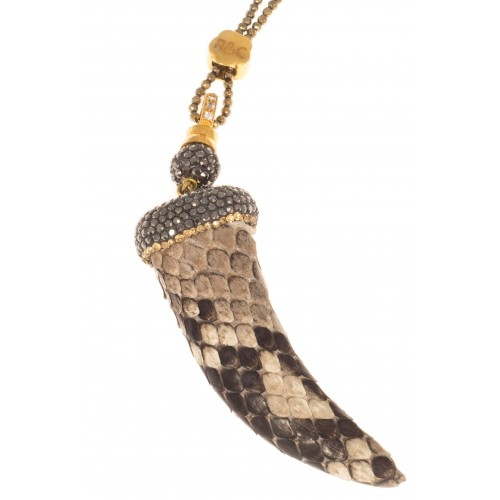 Python horn necklace brown and gold 7cm