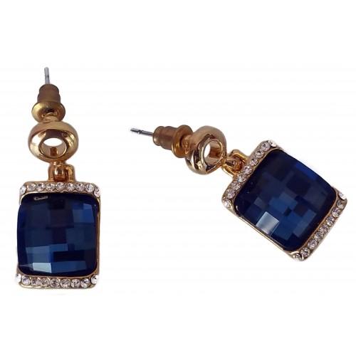 Pendientes de bisuteria dorados de forma cuadrada y cristal azul