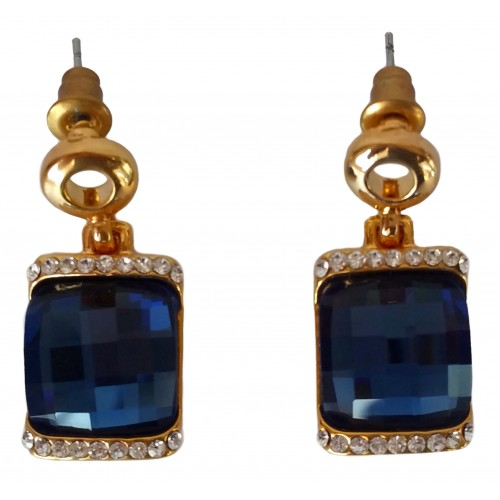 Costume Earrings gold-plated square and blue crystal