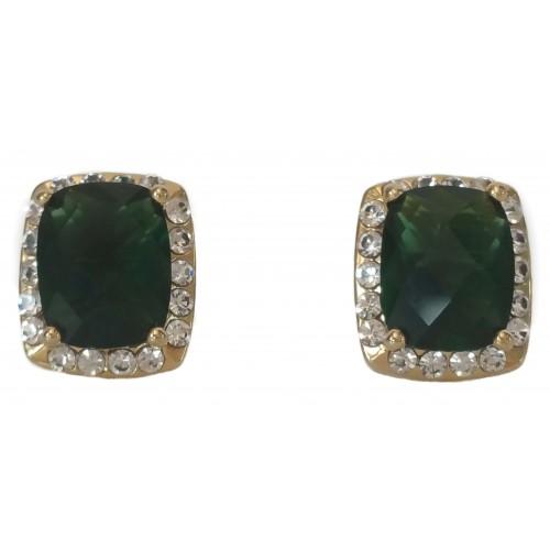 Pendientes de bisuteria cuadrados cristal verde