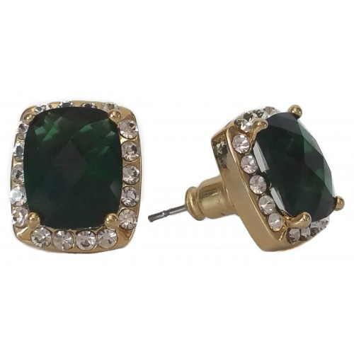 Costume Earrings in gold color and green square crystal