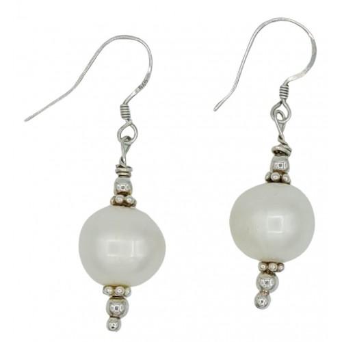 Pendientes de plata de perla blanca